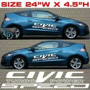 2x Honda Civic Racing Sticker Window Decal 24 W X 4 5 H 1821 White