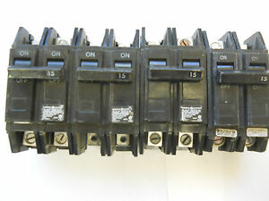 Lot Of 4 General Electric 15 Amp Circuit Breakers 2 Pole