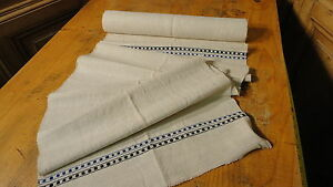 Homespun Linen Hemp Flax Yardage 3 5 Yards X 16 Blue Black Stripes 6451