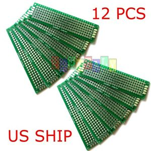 12pcs 2x8 Cm Double Side Diy Prototype Circuit Breadboard Pcb Universal Board g