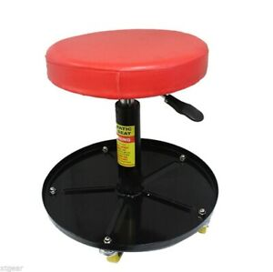 New Adjustable Mechanics Shop Seat Creeper Stool Round Rolling W Tool Tray