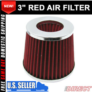 For 3 Inch 2 layer Chrome Inlet Short Ram Cold Intake Round Cone Red Air Filter