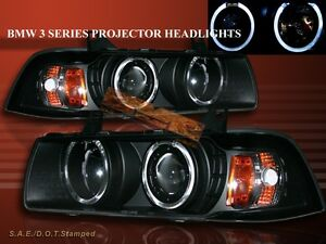 92 98 Bmw E36 3 Series 2 Door Coupe Two Halo Projector Black Amber Headlights