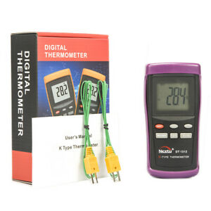 Digital Industrial K type Thermocouple Thermometer Hvac W 2 Wire Probes Dt1312
