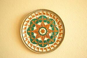 Vintage Miniature Cloissione Enamel Brass Wall Hanging Dish Charger 3 5