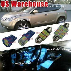 13 Pc Aqua Blue Led Lights Interior Package Dome Kit For 03 07 Nissan Murano