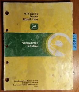 John Deere 610 Series Drawn Chisel Plow Owner Operator Manual Omn200322 I1 8 91