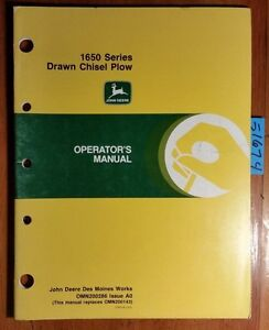 John Deere 1650 Series Drawn Chisel Plow Owner Operator Manual Omn200286 A0 89