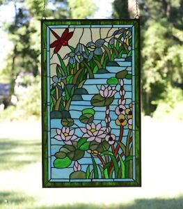 20 5 X 34 5 Decorative Handcrafted Stained Glass Window Panel Dragonfly Lotus