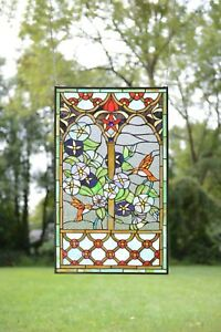20 X 34 Handcrafted Handcrafted Stained Glass Window Panel Humminbird Garden