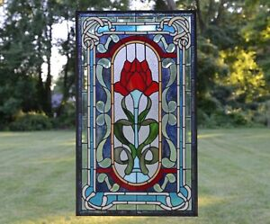 20 5 X 34 Lg Home Decor Handcrafted Stained Glass Window Panel Big Rose Flower