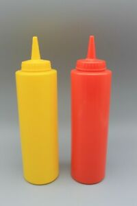 2 Condiment Dispenser Squeeze Bottle Plastic Ketchup mustard Bbq Dining 12oz