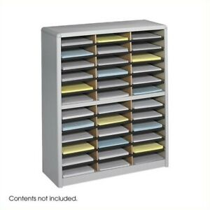 Filing Cabinet File Storage 36 Compartment Sorter Metal Flat Organizer In Gray