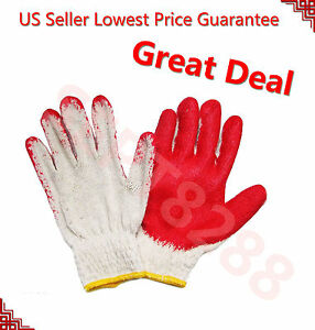 80 Pairs Premium Red Latex Rubber Palm Coated Work Safety Gloves made In China