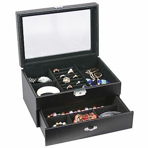 Black Leather Carbon Fiber Jewelry Storage Case W drawer Glass Top Lock And Key