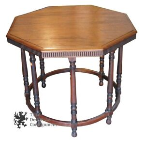 Mid Century Solid Mahogany Octagon Drum Table Vintage Accent Side Lamp Stand