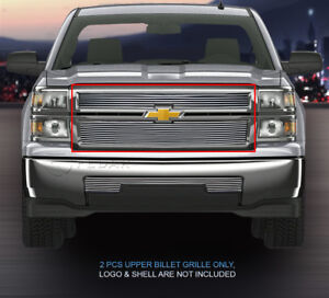 Fits 2014 2015 Chevy Silverado 1500 Billet Grille Grill Upper Grill 2 Pcs