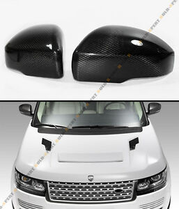 For 13 17 Range Rover L405 Blk Carbon Fiber Side Mirror Cover Caps Overlay Pair