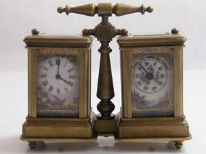 Hand Painted Porcelain Dual Brass Carriage Clock Barometer
