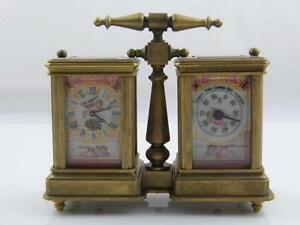 Hand Painted Porcelain Brass Clock Barometer