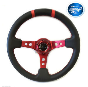Nrg 3 Deep Dish Steering Wheel 350mm Black Leather Red Center Limited Edtion