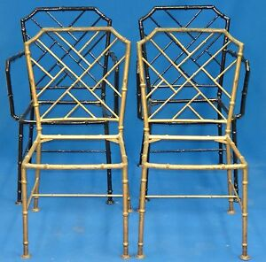 4x 70s Faux Bamboo Chinese Chippendale Hollywood Regency Patio Metal Chair