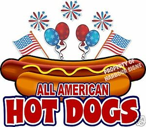 All American Hot Dogs 24 Decal Concession Food Truck Hotdog Cart Vinyl Sticker