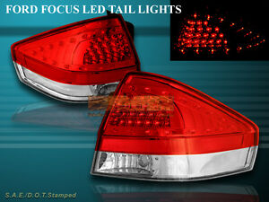 2008 2011 Ford Focus Tail Lights Red Clear W Led