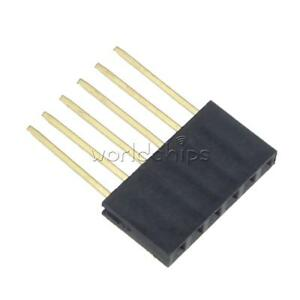 10pcs 2 54mm Pitch 6 Pin Single Row Stackable Shield Female Header For Arduino