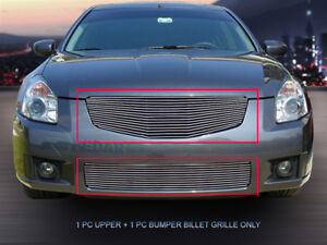 Fits 2007 2008 Nissan Maxima Polished Billet Grille Front Combo Grill
