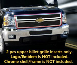 Fits 2011 2014 Chevy Silverado 2500hd 3500hd Black Billet Grille Grill Upper