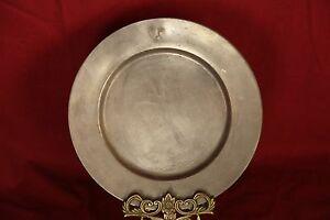 C 1800 S Heavy Pewter Charger With Hallmarks