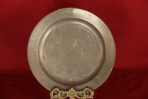 C 1850 S Pewter Charger With Oak Leaf Hallmarks