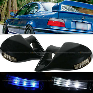 For 92 98 E36 4dr M 3 Style Led Signal Powered Glossy Black Side View Mirror