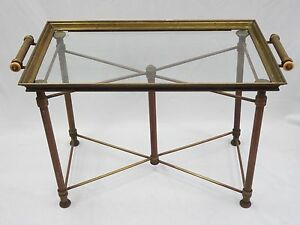 Antique 1930 S French Art Deco X Base Brass Butler Table Serving Tray