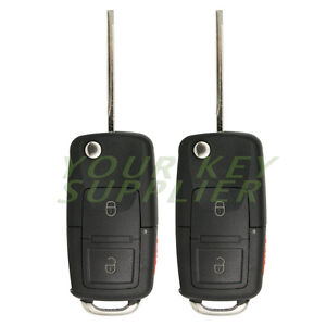 2 New Flip Key Fob Keyless Entry Remote Combo 3 Button For Ford Vw Style Flp1