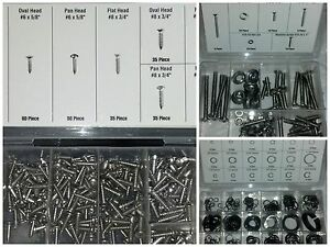 615 Pc Assorted Stainless Steel Screws Snap Rings Trim Moulding Auto Rv Garage