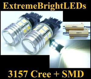 Two Hid White 3156 3157 Cree Q5 12 smd Turn Signal Lights 2 Load Resistors