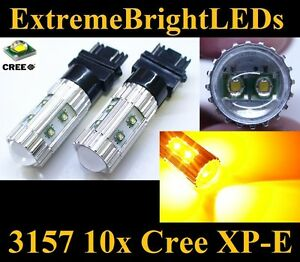 Two Orange Amber 50w High Power 3156 3157 10x Cree Xp e Turn Signal Lights