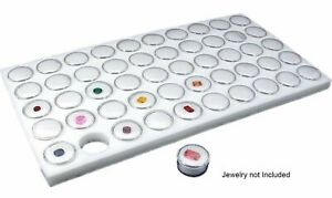 New Glass Top Jewelry Display Case Box With Latch And White 50 Gemstone Jars
