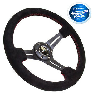 Nrg Deep Dish Steering Wheel 350mm Black Suede With Red Stitching Rst 018s Rs