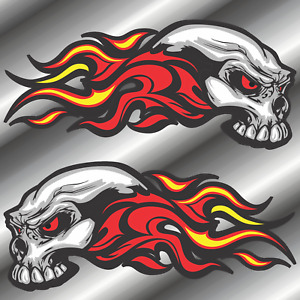 Pair Flaming Skull Stickers Decals Vinyl Car Truck Boat Motorcycle 4 Sizes