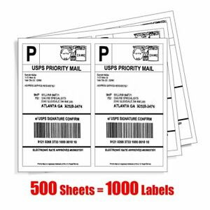 1000 Half Sheet Shipping Labels 8 5x5 5 Self Adhesive 2 sheet For Usps Paypal