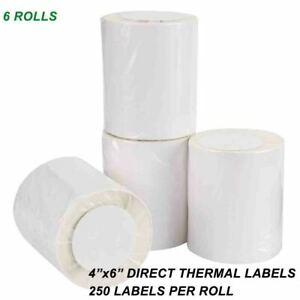 6 Roll Of 250 4x6 Direct Thermal Labels For Zebra Eltron Zp 450 Lp 2844z Gk420t