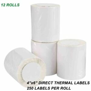 12 Rolls 4x6 Direct Thermal Labels Blank 250 roll For Lp2844 Zebra Eltron Zp 450