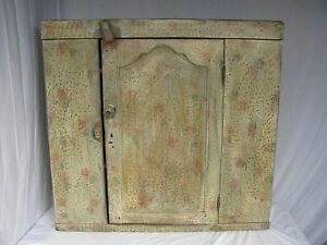Antique Early 19th Century Folk Art Paint Decorated Wall Cabinet We Can Ship