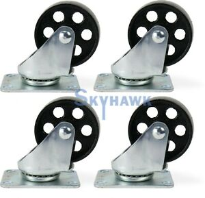 4 pc 3 350 lb capacity All steel Wide Wheel Swivel Top Plate Casters