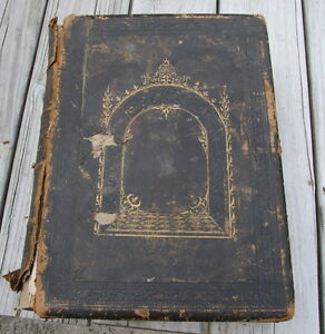 Massive Antique Family Bible Blank Family Pages