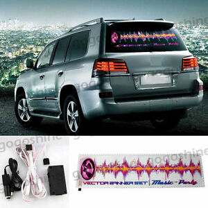 Car Music Rhythm Lamp Led Flash Light Sticker Sound Activated Equalizer 90x25cm