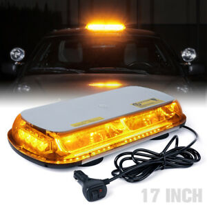 17 44 Led Rooftop Emergency Hazard Strobe Light Bar Amber Yellow 12v Snow Plow